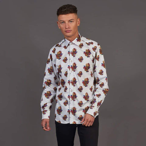 Claudio Lugli Skull And Flowers White Shirt S / White