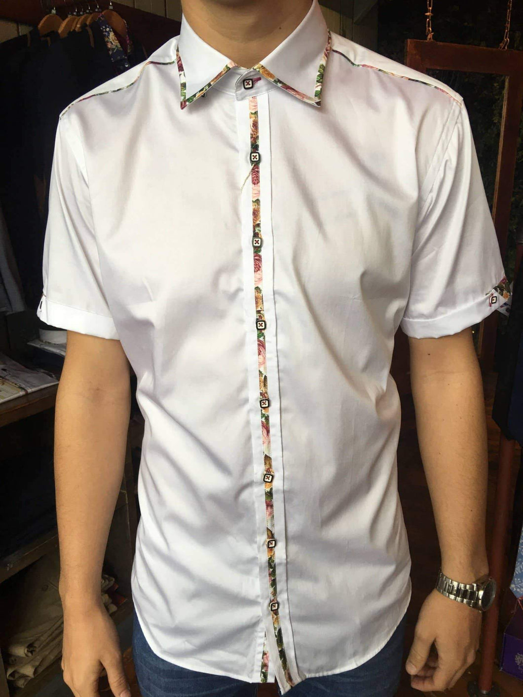 Claudio Lugli White Floral Rose Trim Cotton Short Sleeve Shirt - CP6022 S