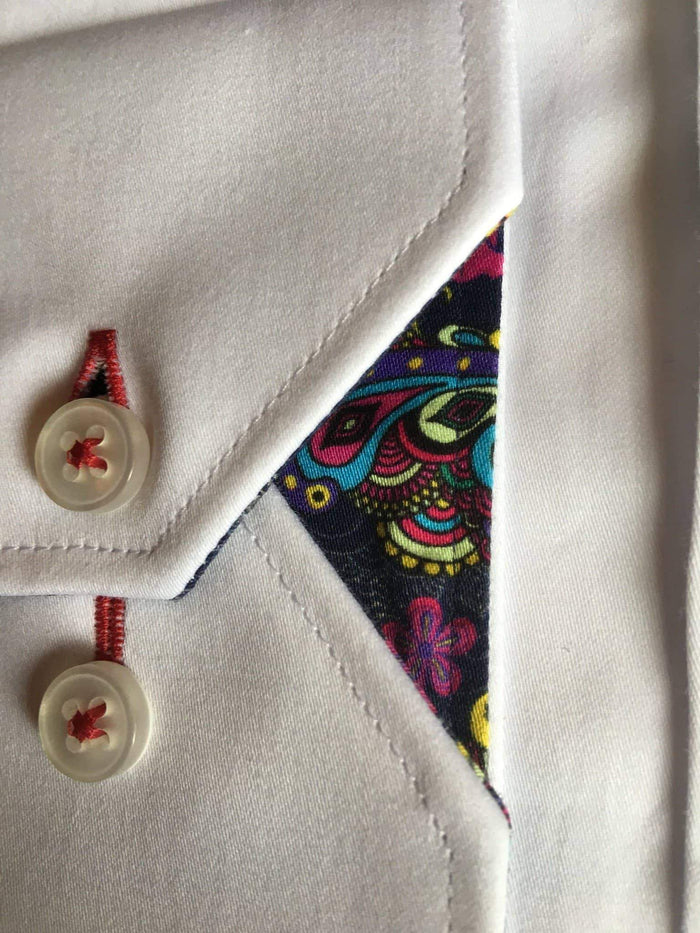 Claudio Lugli White Shirt With Butterfly Collar And Cuff Detail