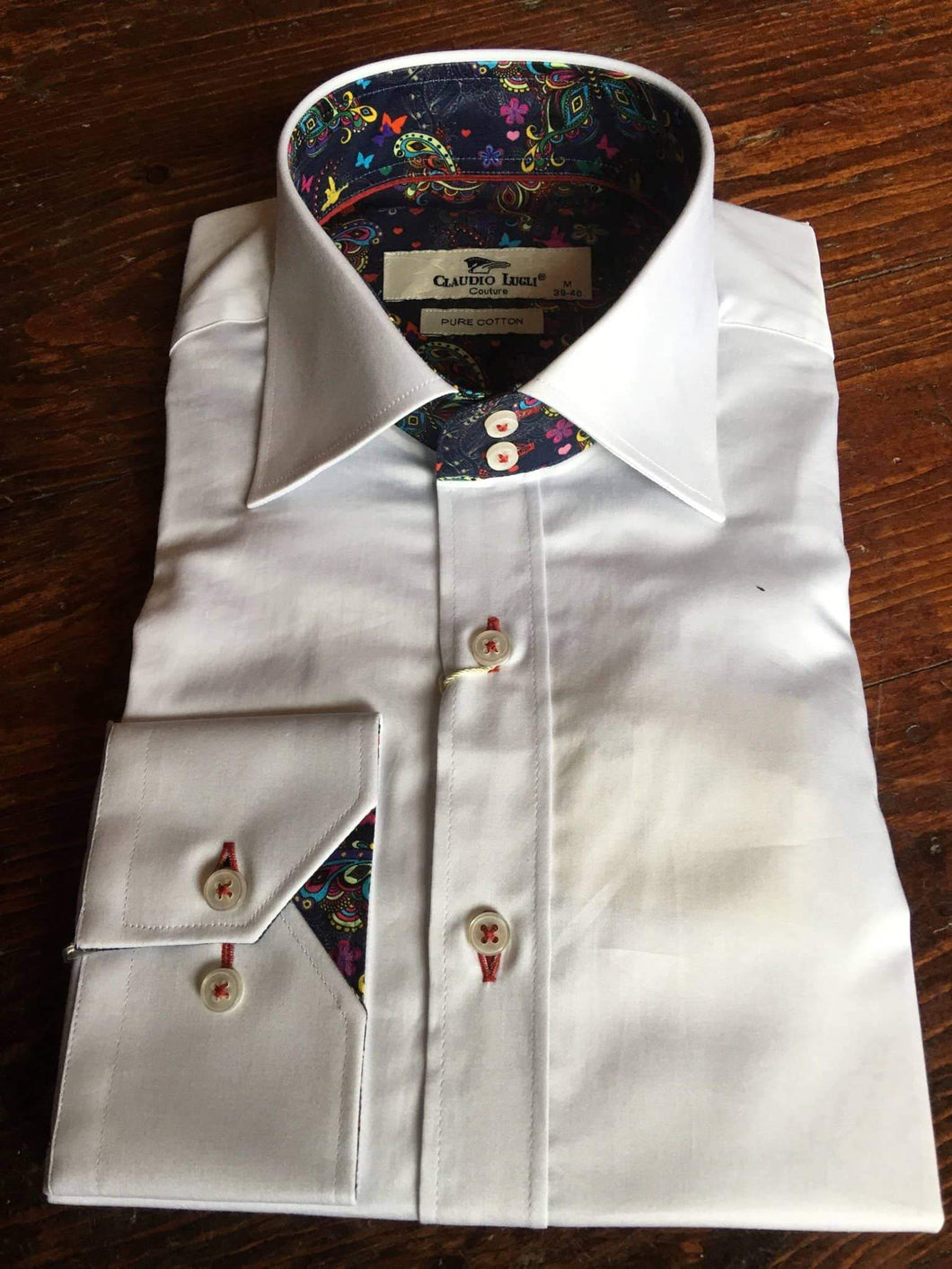 Claudio Lugli White Shirt With Butterfly Collar And Cuff Detail S