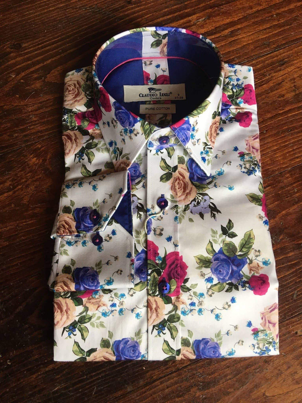 Claudio Lugli White Shirt With Rose Print S