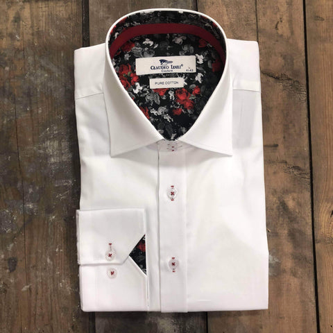 Claudio White Shirt With Black and White Floral with Red Detail S