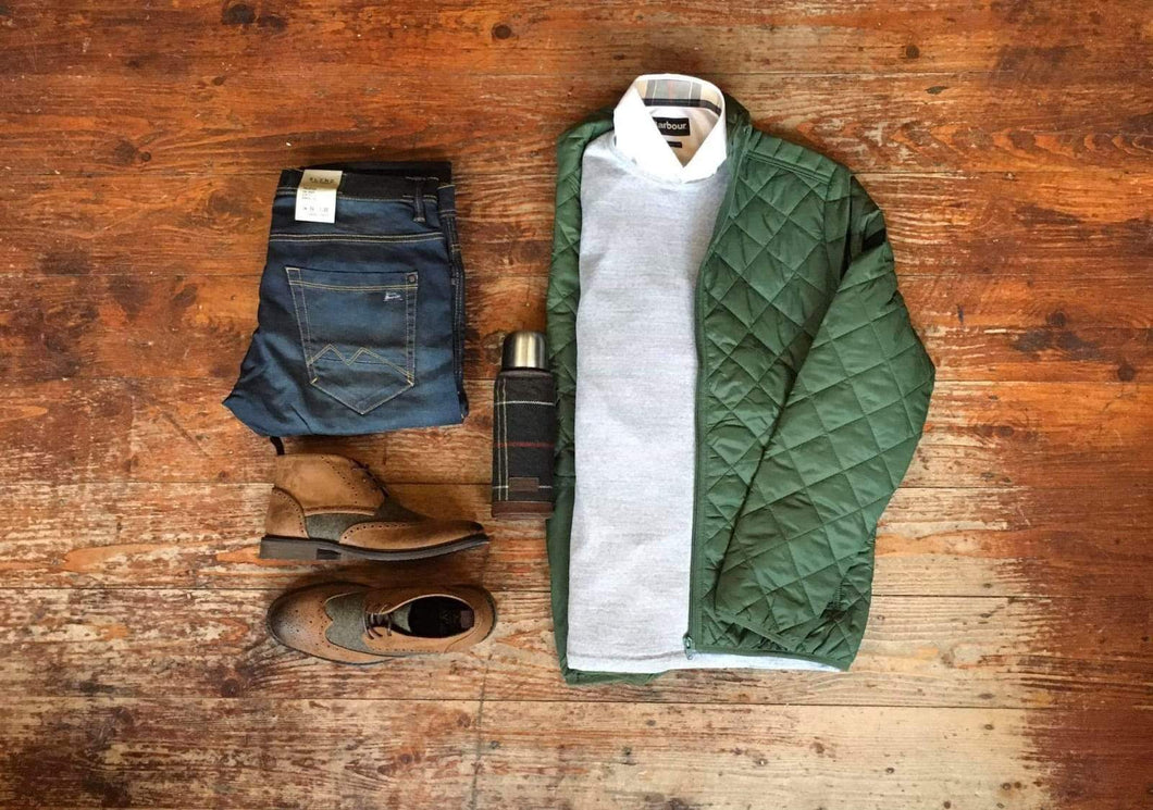 Copy of Barbour & Blend Casual Look blend-quilted-olive-jacket / casual-friday-light-grey-crew-neck-wool-jumper / barbour-headshaw-white-cotton-shirt