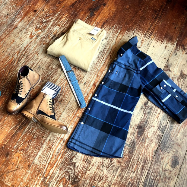 Copy of Barbour Sandwood & Chinos blend-sand-brown-chinos / barbour-sutherland-inky-blue-cotton-check-shirt / london-brogues-gatsby-tan-navy-leather-hi-brogue-boot