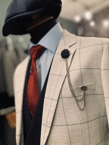 Copy of Callie and Rose Gold Spring Wedding Look cavani-callie-grey-checked-blazer / cavani-callie-grey-checked-waistcoat / guide-london-white-cotton-shirt-with-blue-collar-detail