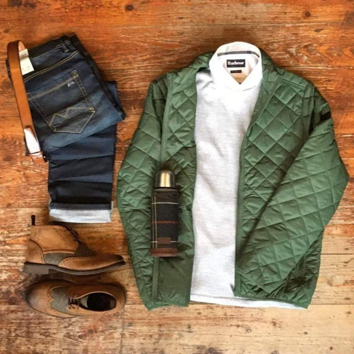 Copy of Olive Quilted Jacket Casual Look blend-quilted-olive-jacket / casual-friday-light-grey-crew-neck-wool-jumper / barbour-headshaw-white-cotton-shirt