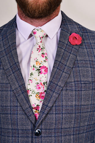 Cream Liberty Print Tie & Burgundy Lapel Pin Set Cream