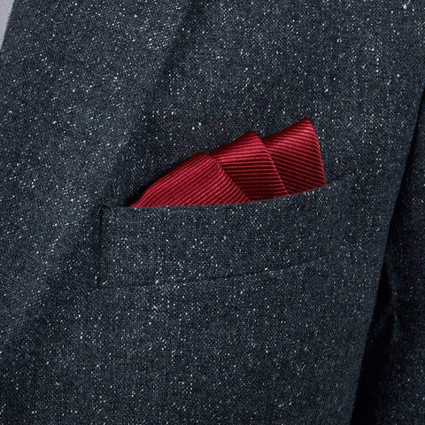 Crimson Red Woven Silk Pocket Square