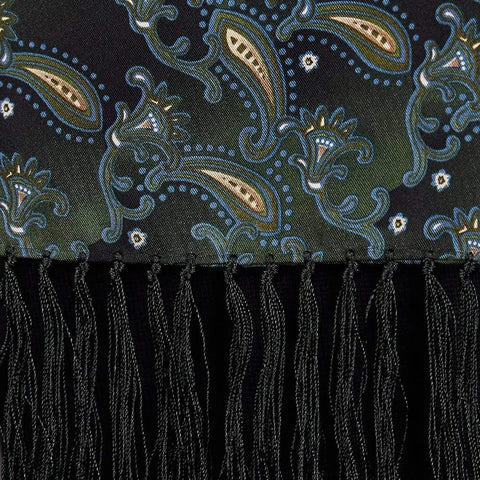 Dark Green Paisley Silk Aviator Scarf