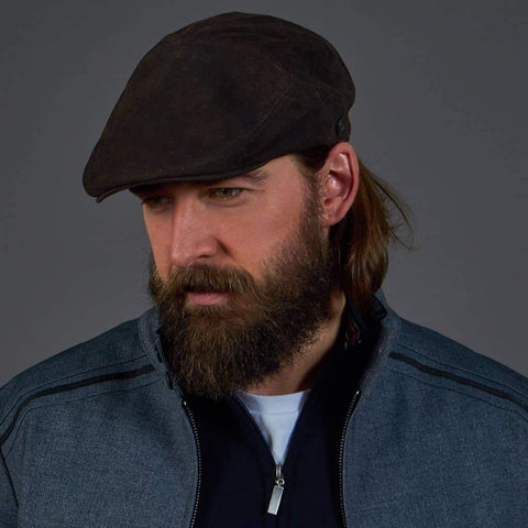 Dasmarca Alex Leather Flat Cap - Carbon Small - 54-55cm