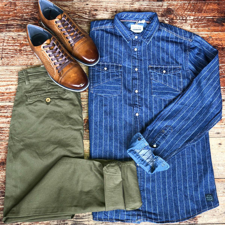 Denim Shirt and Chinos Casual Look blend-navy-pinstripe-shirt / blend-olive-chinos / justin-reece-paddy-sneaker-in-tan