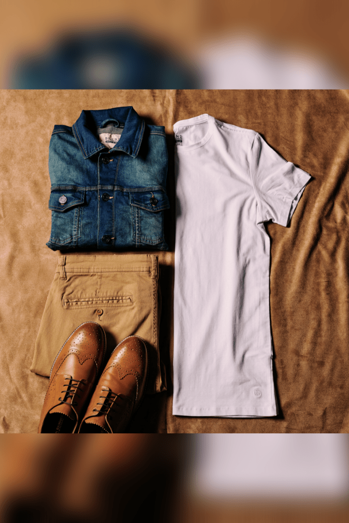 Denim Shirt Casual Outfit blend-denim-jacket / blend-white-t-shirts-pack-of-2 / blend-sand-brown-chinos