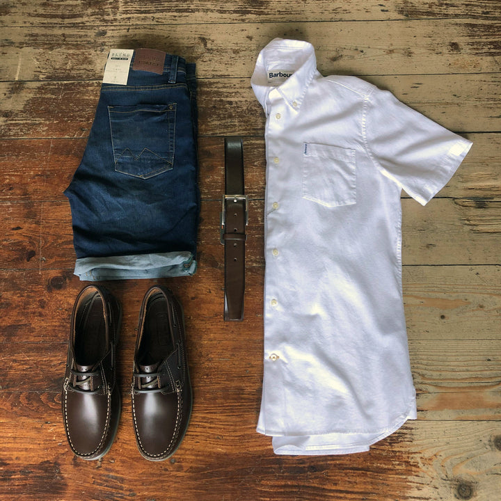 Denim Shorts with Boat Shoes blend-white-leather-grain-sneakers / casual-friday-beige-chino-shorts / blend-sky-blue-cotton-grandad-short-sleeved-shirt