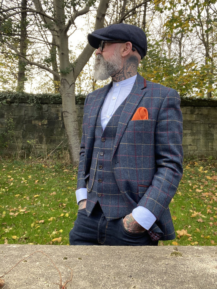 Doyle Navy With Pinstripe Grandad Shirt skopes-doyle-navy-check-blazer / skopes-doyle-navy-check-tailored-fit-waistcoat / skopes-blue-cotton-stripe-grandad-shirt
