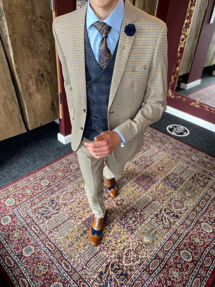 Elwood and Watson Mix & Match cavani-elwood-brown-houndstooth-blazer / master-debonair-watson-navy-and-tan-check-tweed-waistcoat / cavani-elwood-brown-houndstooth-trousers