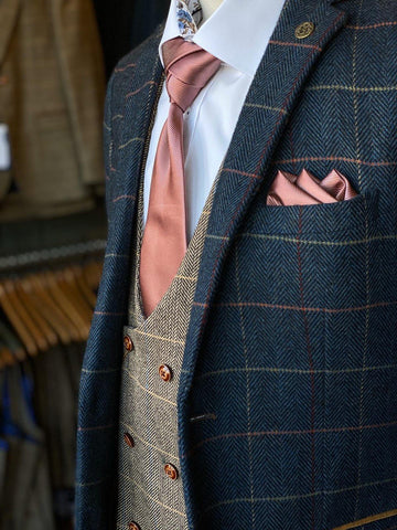 Eton and Ted Mix & Match Look marc-darcy-eton-navy-check-tweed-style-suit-blazer / marc-darcy-ted-tweed-herringbone-check-double-breasted-tan-waistcoat / marc-darcy-eton-navy-check-tweed-style-suit-trousers