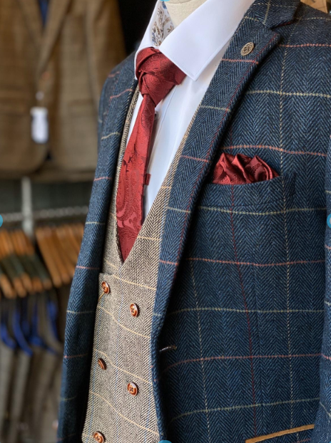 Eton and Ted Mix with Red marc-darcy-eton-navy-check-tweed-style-suit-blazer / marc-darcy-ted-tweed-herringbone-check-double-breasted-tan-waistcoat / marc-darcy-eton-navy-check-tweed-style-suit-trousers