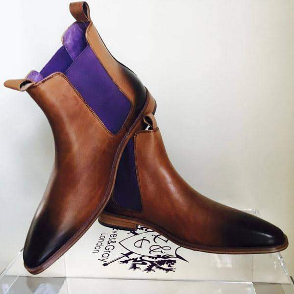 Eves & Gray Hellcat Tan/Purple Leather Chelsea Boot