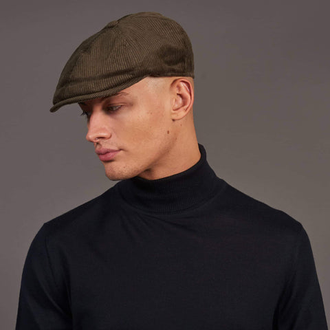 Failsworth Olive Cord Duckbill Peak 6 Piece Hat 56cm / Olive