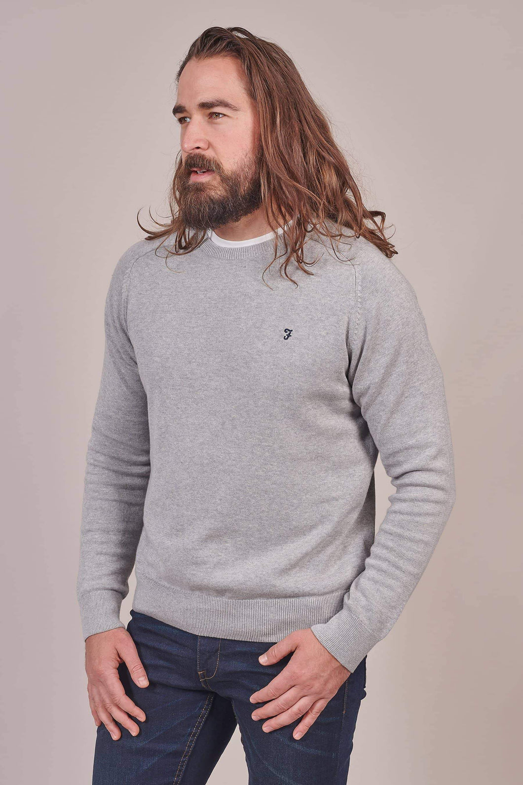 Farah Grey Long Sleeve Jumper