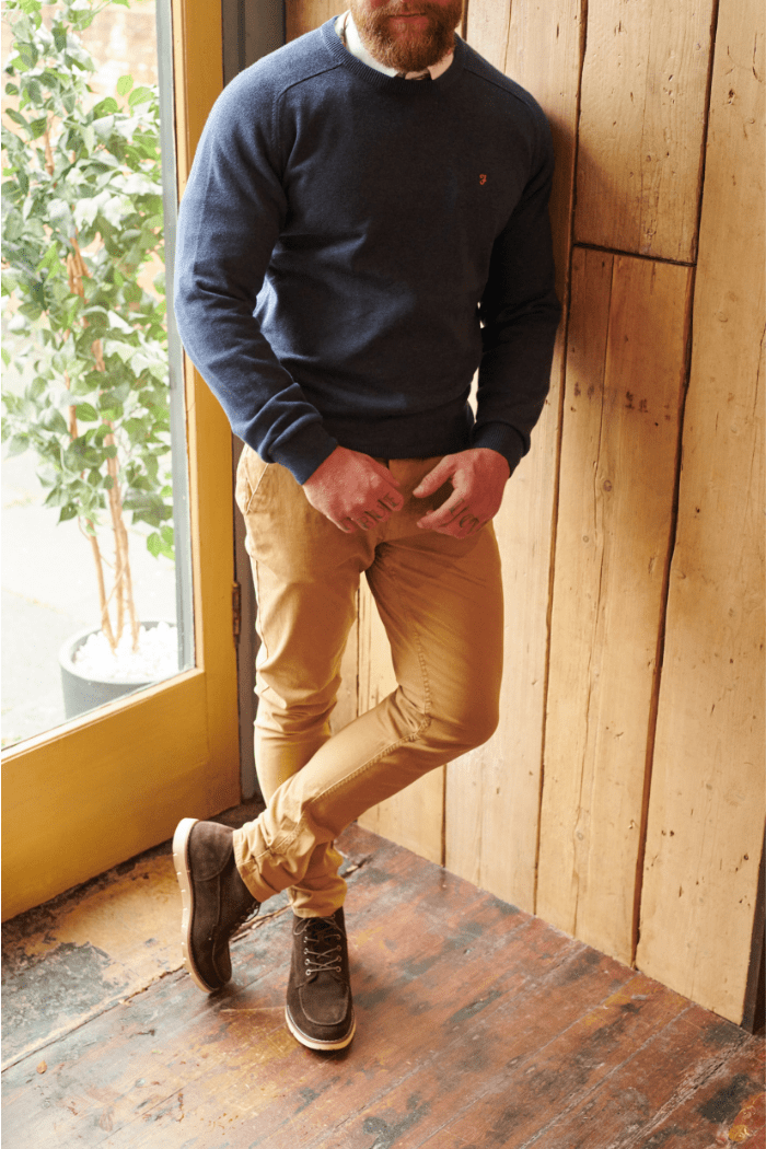 Farah Navy Jumper with Blend Sand Chinos farah-navy-long-sleeve-jumper / blend-sand-brown-chinos / blend-dark-brown-moc-toe-suede-boots