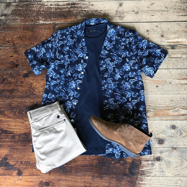 Floral Light Layers Casual casual-friday-navy-floral-short-sleeved-shirt / casual-friday-navy-crew-neck-cotton-t-shirt / blend-granite-chinos