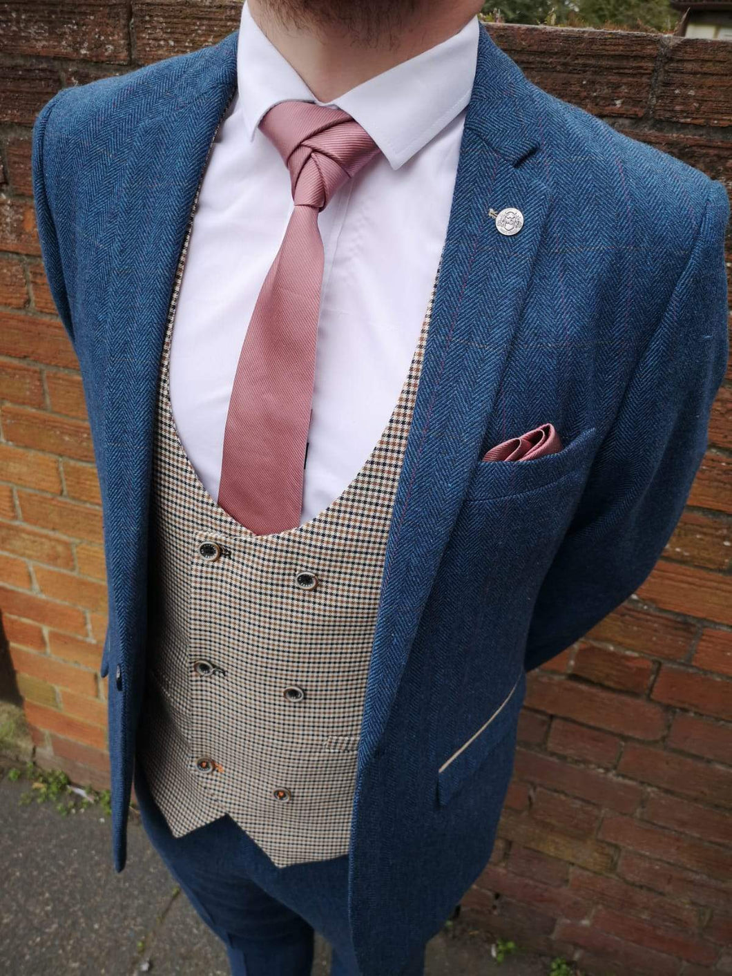 Formal Mix and Match 2 marc-darcy-dion-tweed-herringbone-blazer-with-paisley-lining-blue / cavani-elwood-brown-houndstooth-waistcoat / marc-darcy-dion-tweed-herringbone-check-trousers-blue
