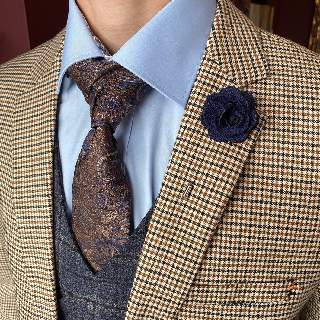 Formal Mix and Match cavani-elwood-brown-houndstooth-blazer / master-debonair-sky-blue-shirt-with-floral-trim / knightsbridge-neckwear-navy-gold-paisley-silk-tie