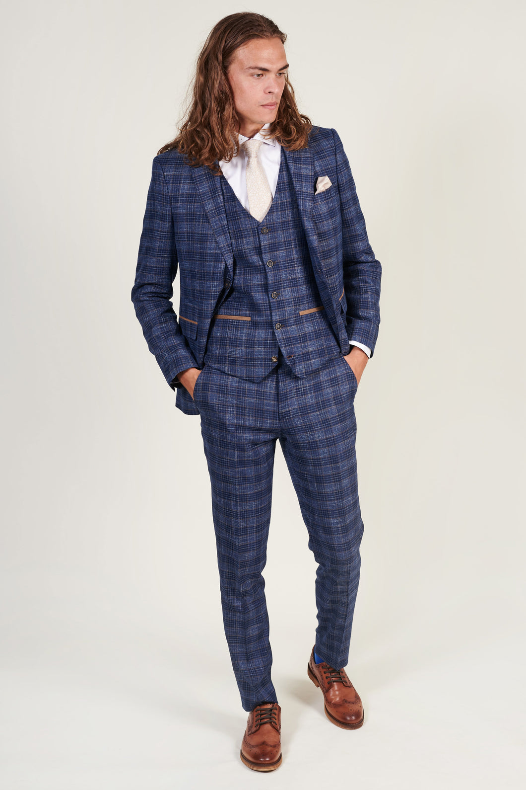 Fratelli Blue & Gold Check 3 Piece Suit fratelli-blue-gold-check-blazer / fratelli-blue-gold-check-waistcoat / fratelli-blue-gold-check-trousers