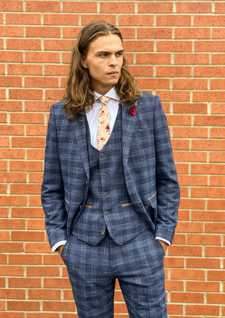 Fratelli Blue & Gold Check 3 Piece Suit