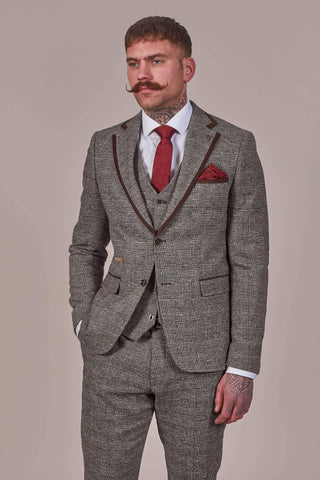Fratelli Brown Prince Of Wales Check Tweed Style Blazer