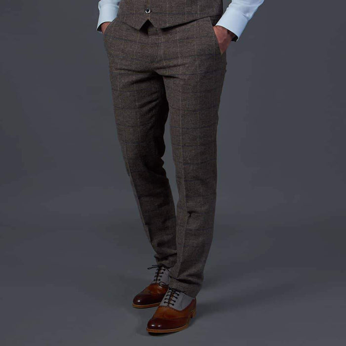 Fratelli Brown Tweed Style Trousers with Blue Check