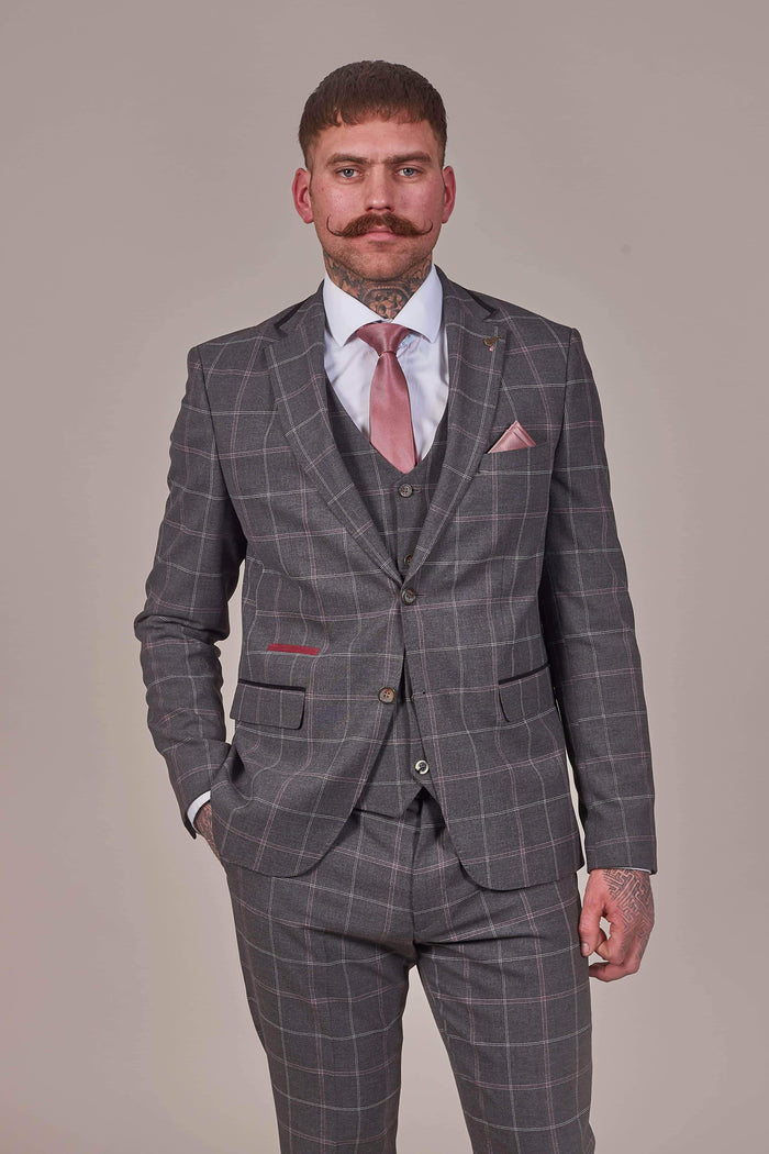 Fratelli Charcoal Blazer With Subtle Pink And White Check