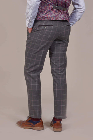 Fratelli Charcoal Trousers With Subtle Pink And White Check