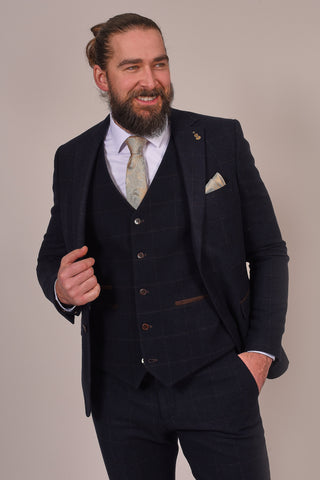 Fratelli Dark Navy Tweed Style Check Suit fratelli-dark-navy-tweed-style-blazer-with-subtle-check / fratelli-dark-navy-tweed-style-waistcoat-with-subtle-check / fratelli-dark-navy-tweed-style-trousers-with-subtle-check