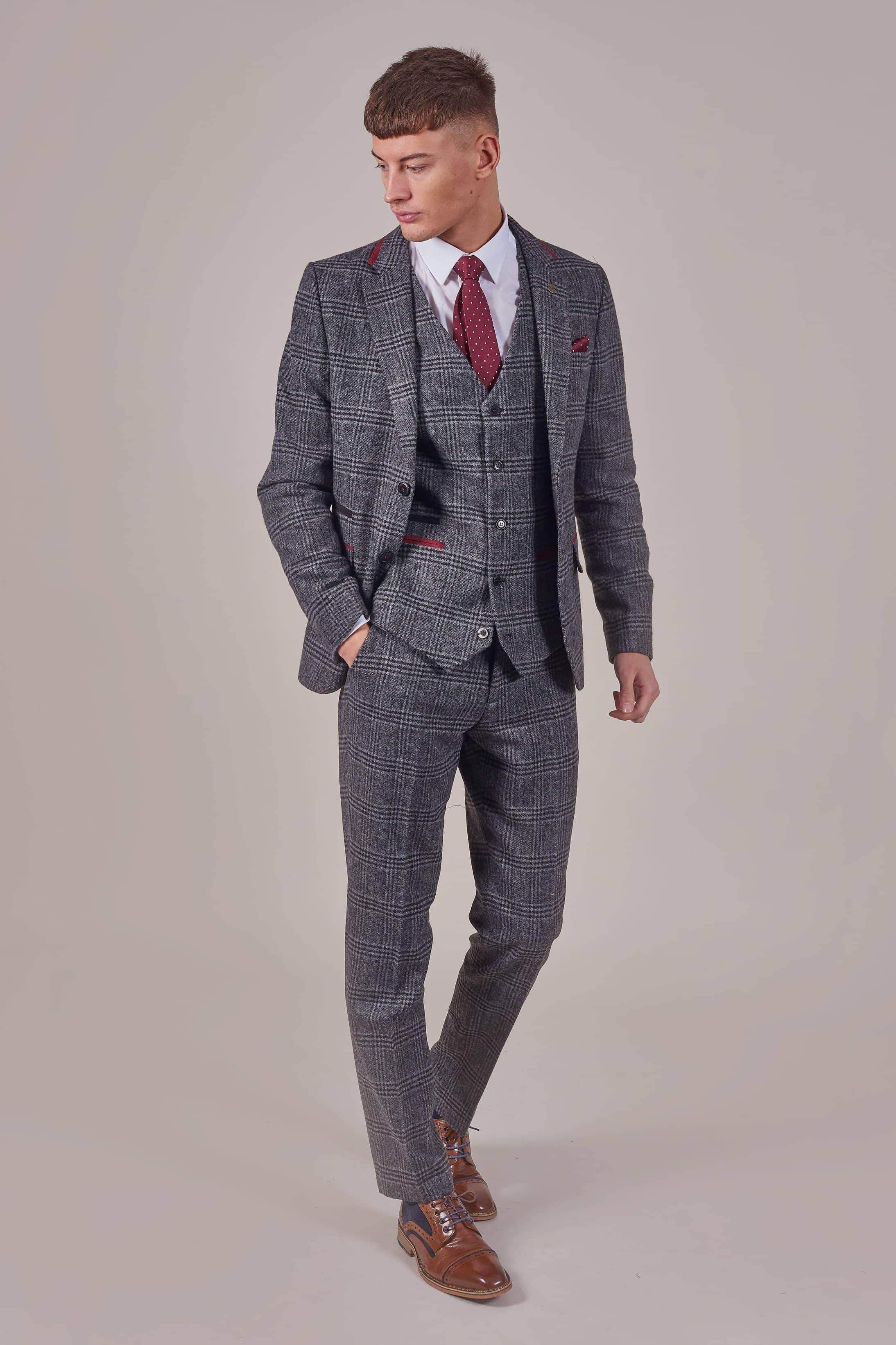 Fratelli Navy With Burgundy Overcheck 3 Piece Suit