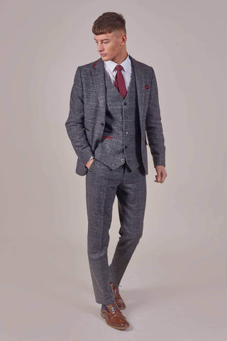 Fratelli Grey Check Tweed Style Suit With Burgundy Trim fratelli-grey-check-blazer-with-burgundy-trim / fratelli-grey-check-waistcoat-with-burgundy-trim / fratelli-grey-check-trousers-with-burgundy-trim