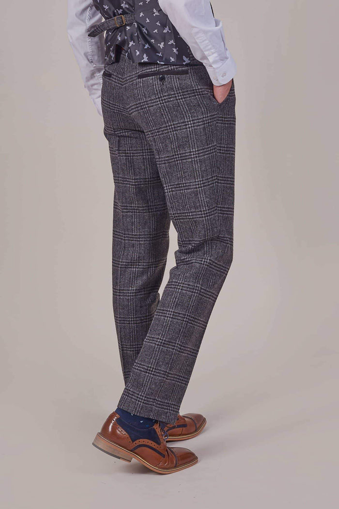 Fratelli Grey Check Tweed Style Trousers With Burgundy Trim