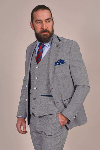 Fratelli Light Blue Suit with Navy Check fratelli-light-blue-with-navy-check-blazer / fratelli-light-blue-with-navy-check-waistcoat / fratelli-light-blue-with-navy-check-trousers