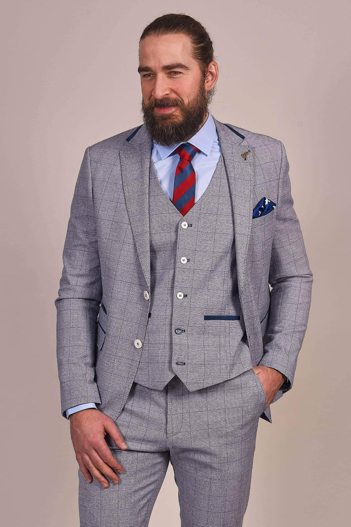 Fratelli Light Blue With Navy Check Blazer 36R / Blue