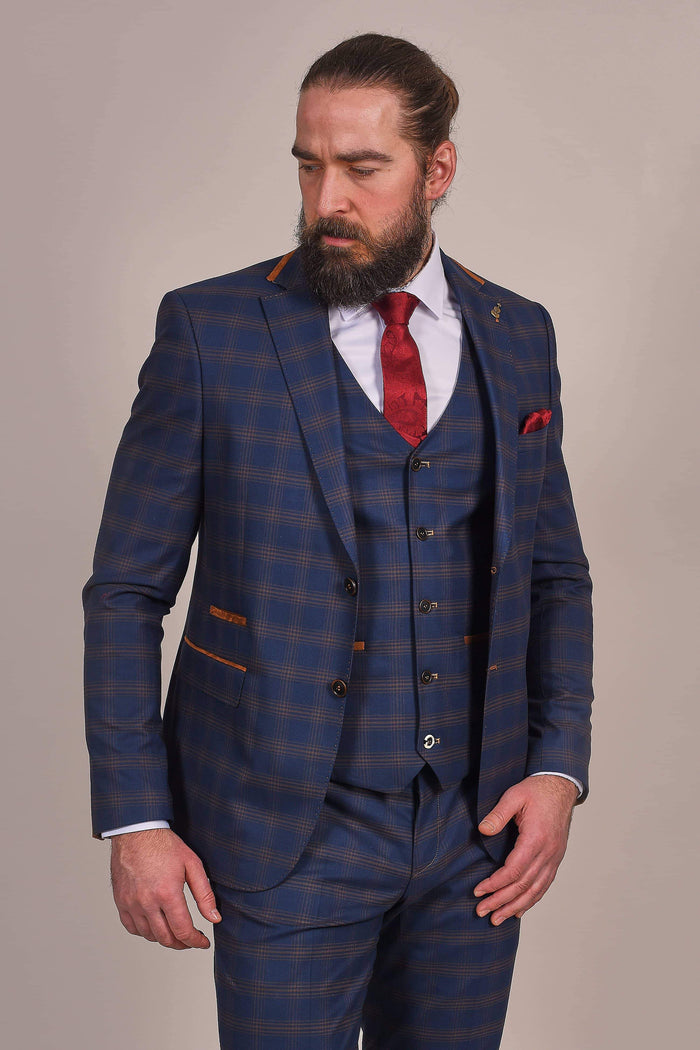 Fratelli Navy And Tan Check Blazer 36R / Navy