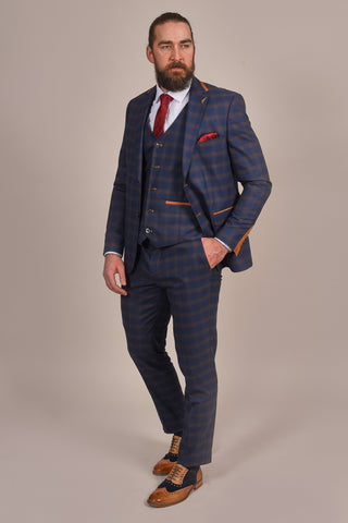 Fratelli Navy And Tan Check Suit fratelli-navy-and-tan-check-blazer / fratelli-navy-and-tan-check-waistcoat / fratelli-navy-and-tan-check-trousers