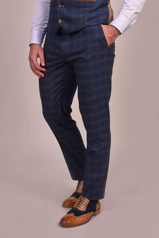Fratelli Fratelli Navy And Tan Check Trousers £55.00