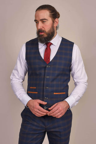 Fratelli Fratelli Navy And Tan Check Waistcoat £30.00