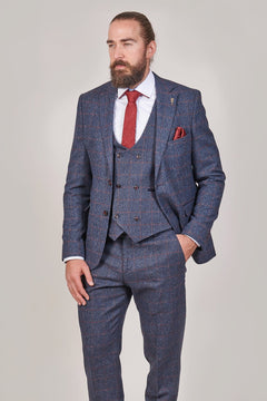 Fratelli Fratelli Navy Blazer With Burgundy Overcheck £88.00