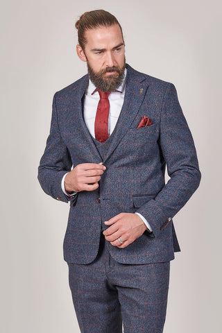 Fratelli Navy Blazer With Burgundy Overcheck