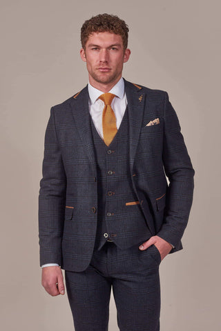 Fratelli Navy Check Tweed Style Blazer With Tan Trim