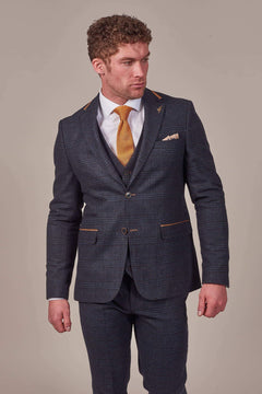 Fratelli Fratelli Navy Check Tweed Style Blazer With Tan Trim £39.60