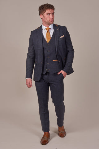Fratelli Navy Check Tweed Style Suit With Tan Trim fratelli-navy-check-tweed-style-blazer-with-tan-trim / fratelli-navy-check-tweed-style-waistcoat-with-tan-trim / fratelli-navy-check-tweed-style-trousers-with-tan-trim