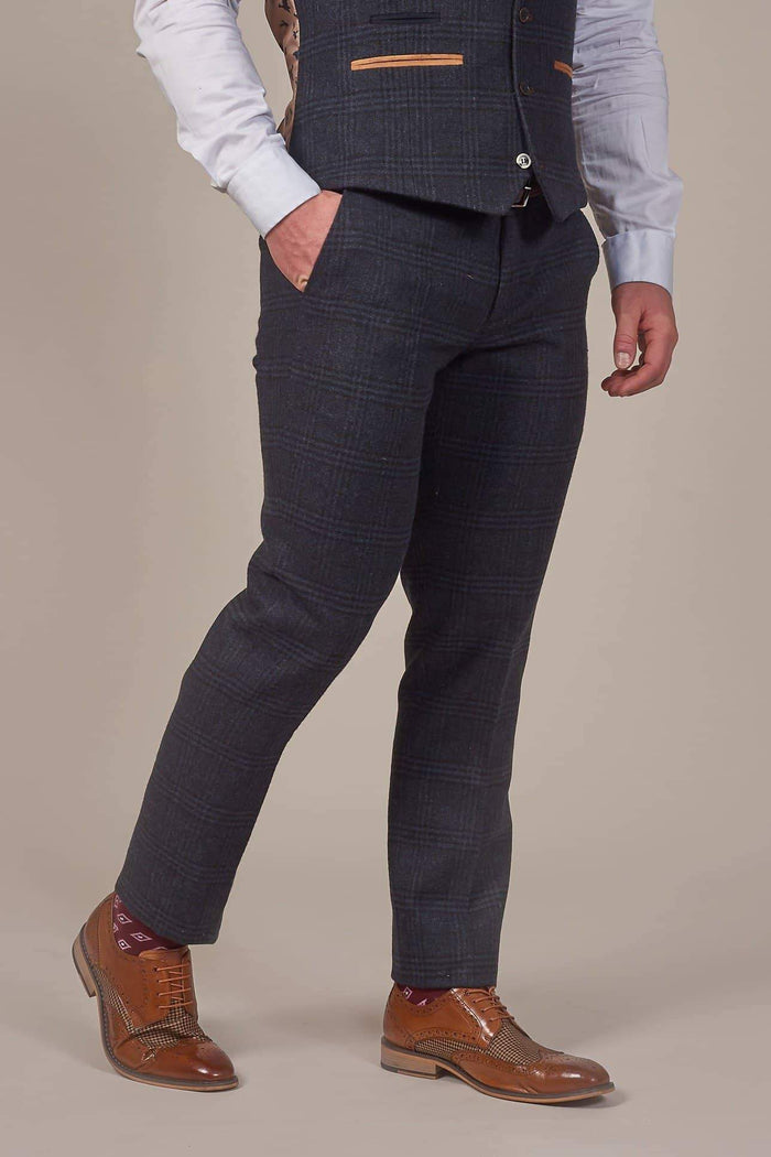 Fratelli Navy Check Tweed Style Trousers With Tan Trim